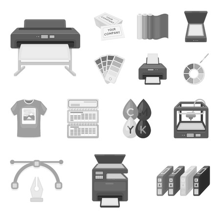 Typographical products monochrome icons in set collection for design. Printing and equipment vector symbol stock  illustration.