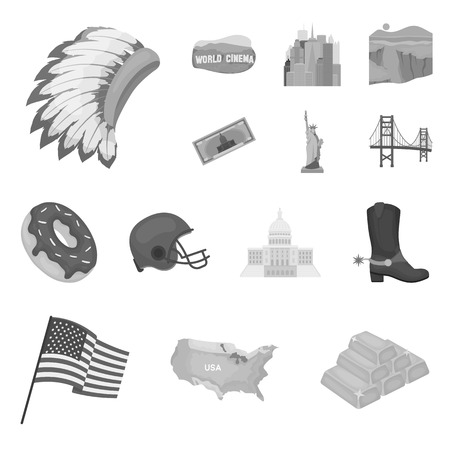 USA country monochrome icons in set collection for design.Travel and attractions vector symbol stock  illustration.