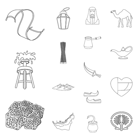 United Arab Emirates country outline icons in set collection for design. Tourism and attraction vector symbol stock illustration.