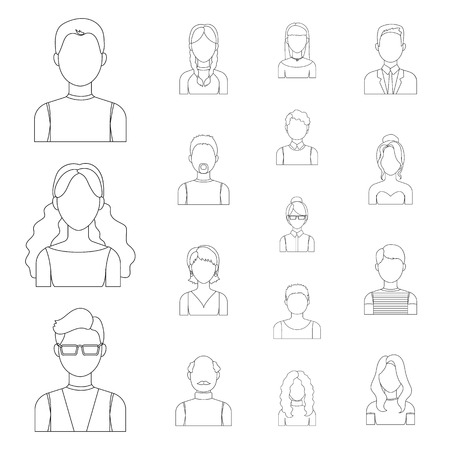 Avatar and face outline icons in set collection for design. A persons appearance vector symbol stock web illustration. Illustration