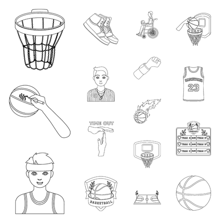 Basketball and attributes outline icons in set collection for design. Basketball player and equipment vector symbol stock web illustration.