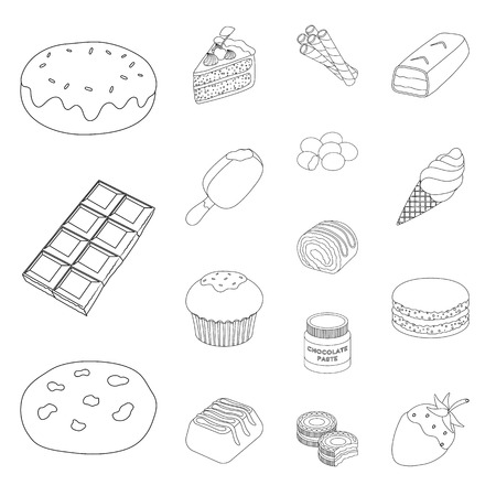 Chocolate Dessert outline icons in set collection for design. Chocolate and Sweets vector symbol stock web illustration.