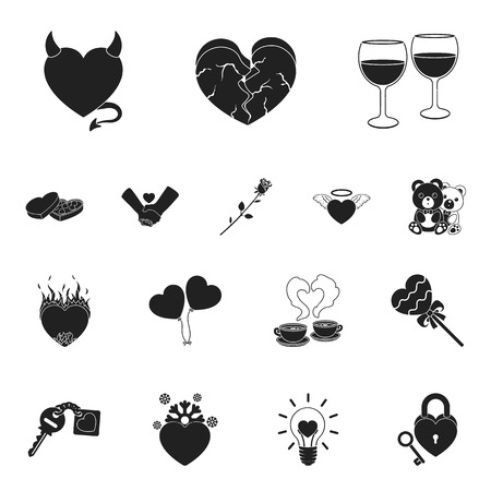 Romantic relationship black icons in set collection for design. Love and friendship vector symbol stock web illustration. Иллюстрация