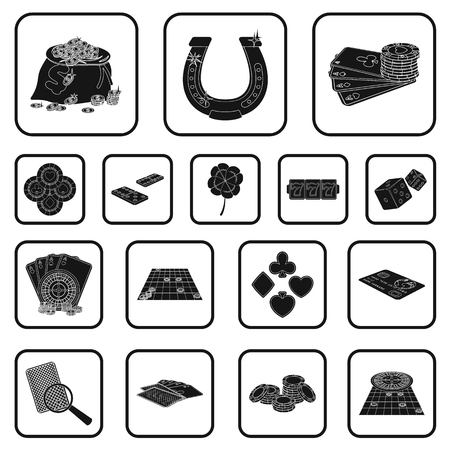 Casino and equipment black icons in set collection for design. Gambling and money vector symbol stock web illustration. Stock Illustratie