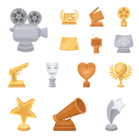 Film awards and prizes cartoon icons in set collection for design. The World Film Academy vector symbol stock web illustration. Illustration