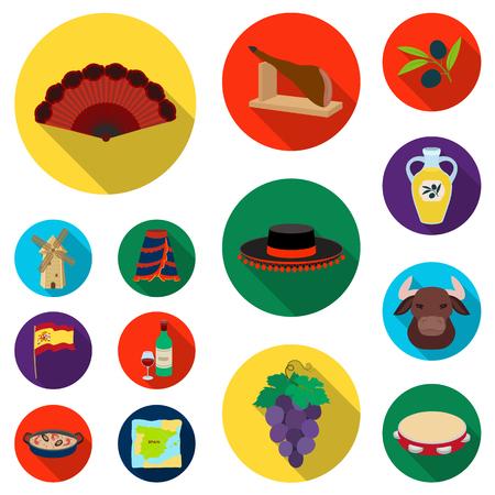 Spanje land plat pictogrammen in instellen collectie voor ontwerp. Reizen en attracties vector symbool stock illustratie.