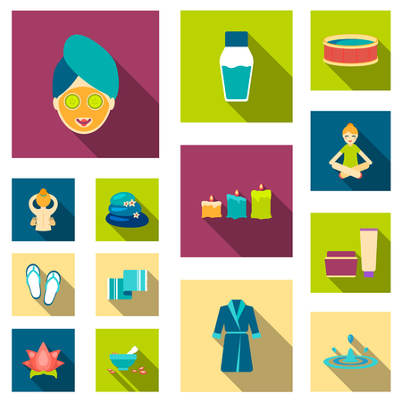 Spa salon and equipment flat icons in set collection for design. Relaxation and rest vector symbol stock web illustration. Çizim
