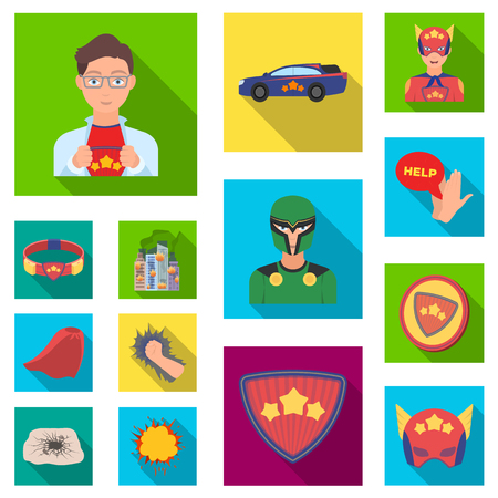 A fantastic superhero flat icons in set collection for design. Superheros equipment vector symbol stock  illustration. Illustration