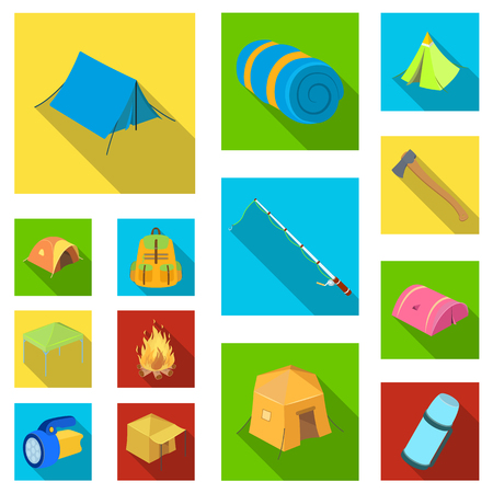 Different kinds of tents flat icons in set collection for design. Temporary shelter and housing vector symbol stock  illustration. Иллюстрация