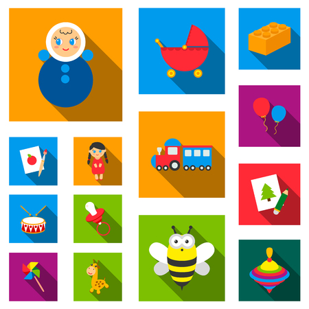 Childrens toy flat icons in set collection for design. Game and bauble vector symbol stock illustration.