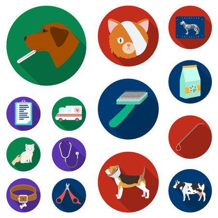 Veterinary clinic flat icons in set collection for design. Treatment of a pet vector symbol stock  illustration. Stock Illustratie