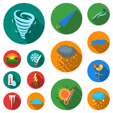 Different weather flat icons in set collection for design. Signs and characteristics of the weather vector symbol stock illustration.