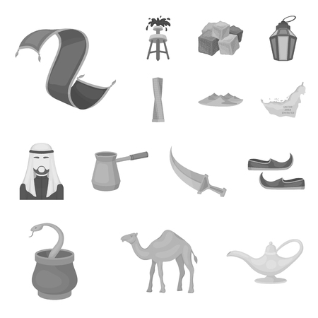 Country of United Arab Emirates icons in set collection for design. Tourism and attraction vector symbol stock illustration.