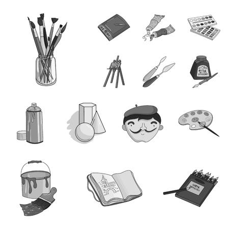 Pittore e disegno icone monocromatiche in set collezione per il design. Illustrazione artistica delle azione di simbolo di vettore degli accessori.