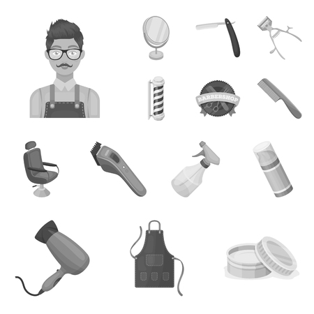 Barbershop and equipment monochrome icons in set collection for design. Haircut and shave vector symbol stock  illustration.