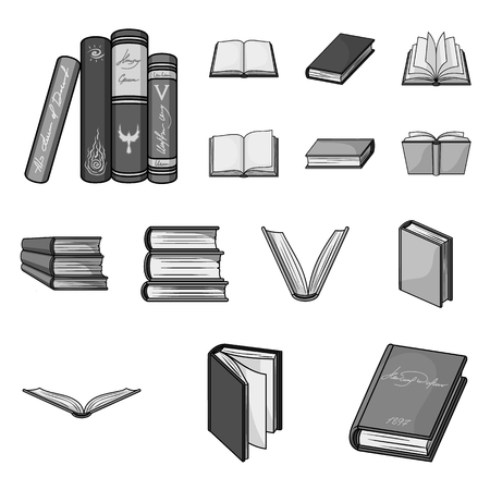 Book in the binding monochrome icons in set collection for design. Printed products vector symbol stock web illustration. Vettoriali