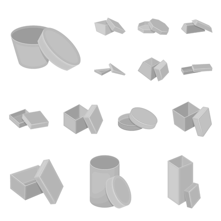 Different boxes icons in set collection for design. Packing box vector symbol stock illustration.