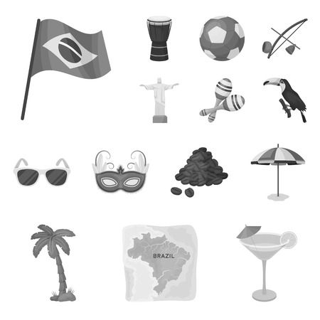 Country Brazil monochrome icons in set collection for design. Travel and attractions Brazil vector symbol stock web illustration.