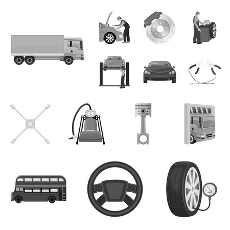 Car, lift, pump and other equipment monochrome icons in set collection for design. Car maintenance station vector symbol stock illustration web.