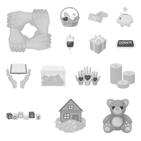 Charity and donation icons in set collection for design. Material aid vector symbol stock illustration. Illustration