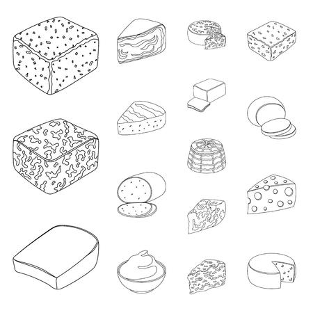 デザインのためのセットコレクションのチーズアウトラインアイコンの異なる種類.ミルク製品チーズベクトルシンボルストックウェブイラスト。  イラスト・ベクター素材