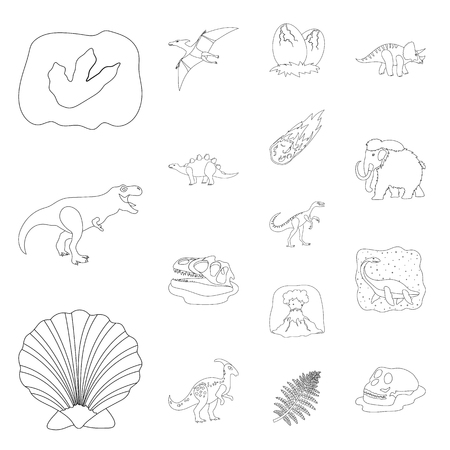 Different dinosaurs outline icons in set collection for design. Prehistoric animal vector symbol stock web illustration. Vettoriali