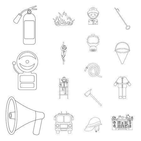 Fire Department outline icons in set collection for design. Firefighters and equipment vector symbol stock web illustration. Иллюстрация