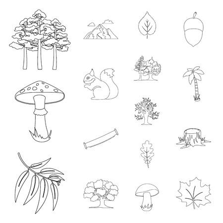 bosque y naturaleza iconos de contorno en conjunto de colección para el diseño del arte del vector . ilustración del web del día de la copia símbolo .