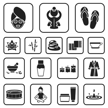 Spa salon and equipment black icons in set collection for design. Relaxation and rest vector symbol stock web illustration. Çizim