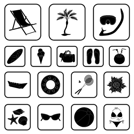 Summer rest black icons in set collection for design. Beach accessory vector symbol stock web illustration.