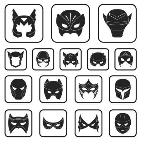 Carnival mask black icons in set collection for design.Mask on the eyes and face vector symbol stock web illustration.  イラスト・ベクター素材
