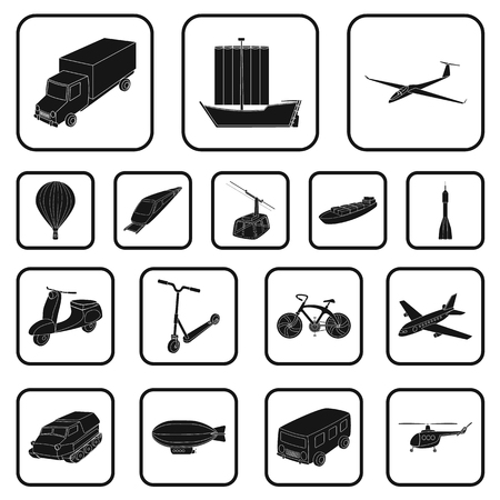Diferentes tipos de iconos negros de transporte en conjunto de colección para diseño. Ejemplo de la acción del símbolo del vector del coche y de la nave.
