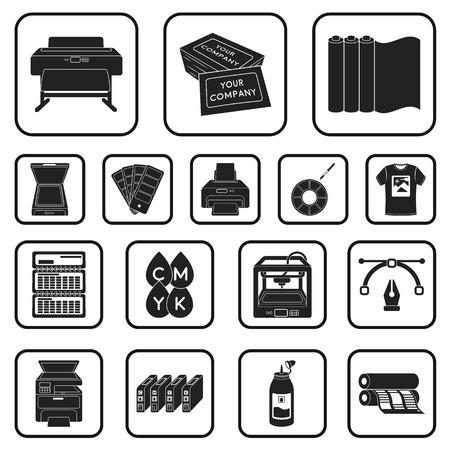 Productos tipográficos iconos negros en conjunto colección para diseño. Impresión y equipo vector símbolo stock web ilustración.