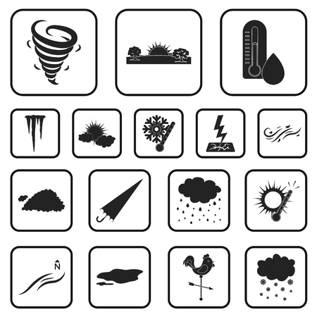 Different weather black icons in set collection for design.Signs and characteristics of the weather vector symbol stock web illustration.