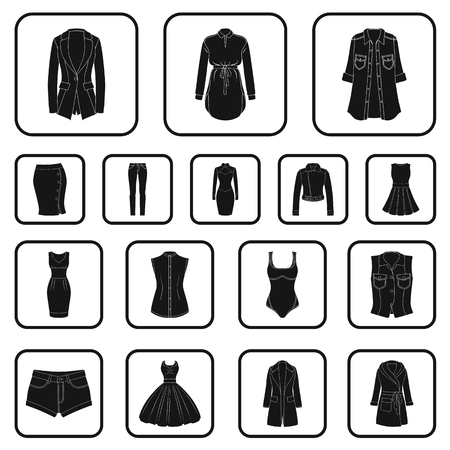 Women's clothing black icons in set collection for design. Clothing varieties and accessories vector symbol stock illustration. Illustration