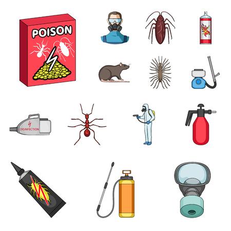 Iconos de dibujos animados de plagas, venenos, personal y equipos en la colección de sets para el diseño. Servicio de control de plagas vector símbolo stock ilustración. Ilustración de vector