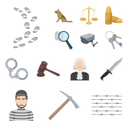 Prison and the criminal cartoon icons in set collection for design.Prison and Attributes vector symbol stock web illustration. Çizim