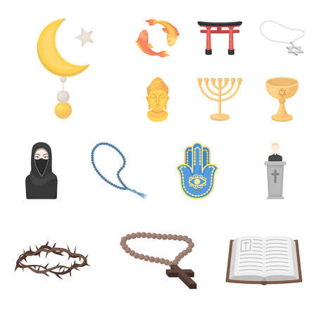 Religion and belief cartoon icons in set collection for design. Accessories, prayer vector symbol stock  illustration.