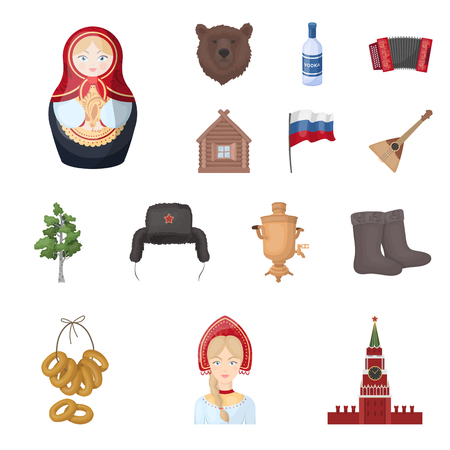 Country Russia, travel cartoon icons in set collection for design. Attractions and features vector symbol stock  illustration.