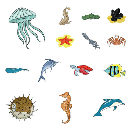 A variety of marine animals cartoon icons in set collection for design. Fish and shellfish vector symbol stock  illustration. 向量圖像