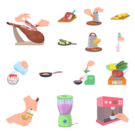 Kochen von Lebensmittelkarikaturikonen in der Satzsammlung für Design. Küche, Ausrüstung und Werkzeuge vector Symbolvorratillustration. Vektorgrafik