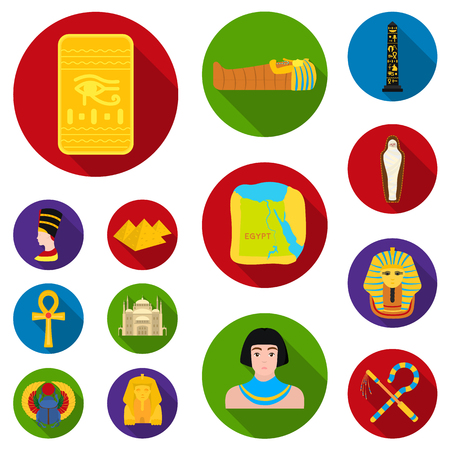 Ancient Egypt flat icons in set collection for design. The reign of Pharaoh vector symbol stock  illustration. 向量圖像