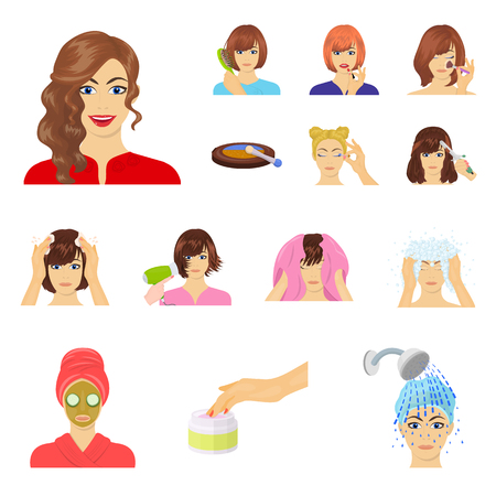 Care of hair and face cartoon icons in set collection for design. Perfumes and makeup vector symbol stock  illustration. Vectores