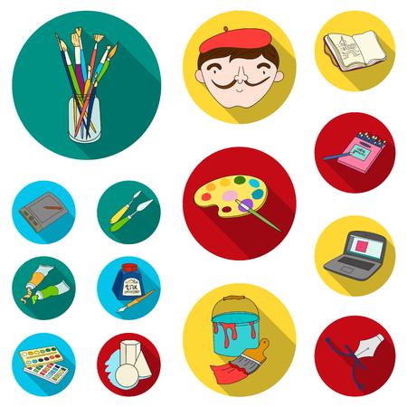 Pittore e icone piane di disegno nella raccolta dell'insieme per progettazione. Illustrazione artistica delle azione di simbolo di vettore degli accessori.