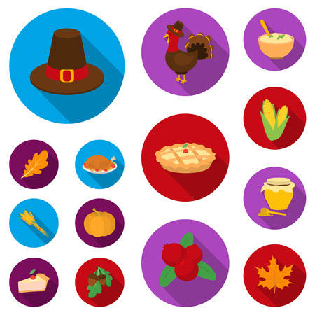 Canada Thanksgiving Day flat icons in set collection for design. Canada and Tradition vector symbol stock illustration.
