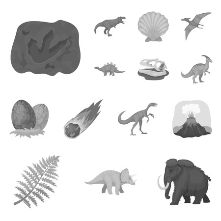 Different dinosaurs monochrome icons in set collection for design. Prehistoric animal vector symbol stock  illustration.  イラスト・ベクター素材