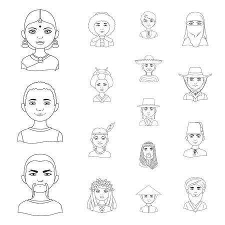 The human race outline icons in set collection for design. People and nationality vector symbol stock web illustration.