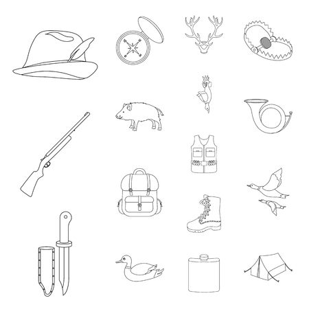 Hunting and trophy outline icons in set collection for design. Hunting and equipment vector symbol stock web illustration.