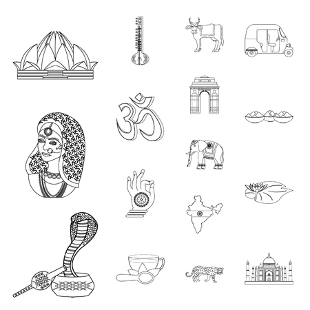 Country India outline icons in set collection for design.India and landmark vector symbol stock illustration. Illustration