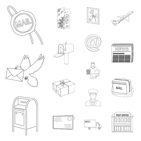 Mail and postman outline icons in set collection for design. Mail and equipment vector symbol stock  illustration.